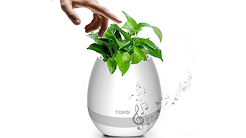 Music Flower Pot Smart Touch Colorful LED Night Light & Wireless Bluetooth Speaker Rechargeable